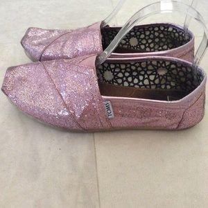Toms pink sparkle glitter flats sz 8